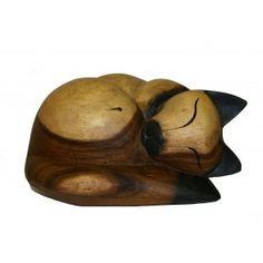 Houten katten urn liggend