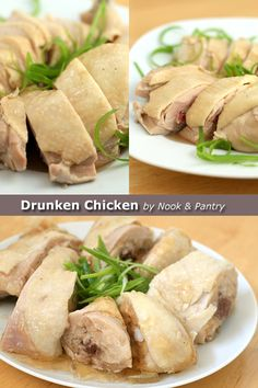 """Drunken chicken is a Shanghainese cold dish where chicken is steeped in rice wine, hence """"drunken chicken."""" This drunken chicken recipe is by Nook & Pantry. Drunken Chicken, Steamed Chicken, Poached Chicken, Chicken Rice, Steam Chicken Recipe, Easy Chicken Recipes, Wrap Recipes, Asian Recipes, Asian Foods"""