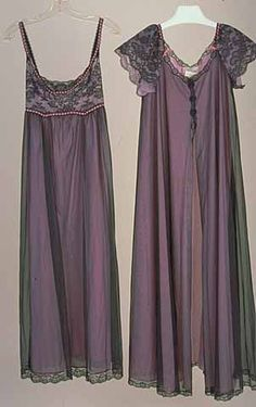 1964 Woman's nylon and lace dressing gown and nightgown with a chiffon overlay. The dressing gown has a four-button closure in the front while the nightgown ties in the back. Made by Hollywood Vassarette, a division of Munsingwear, a company based in Minneapolis, Minnesota.