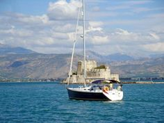 A private yacht passing in front of #Bourtzi fortress as it leaves the port of #Nafplio, #Argolida, #Peloponnese