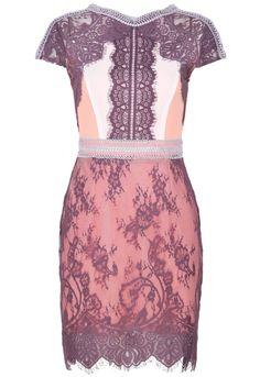 Pink V Neck Short Sleeve Zip Lace Embellished Dress