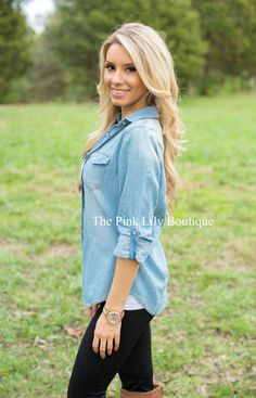 Medium Wash Chambray Blouse - The Pink Lily Boutique