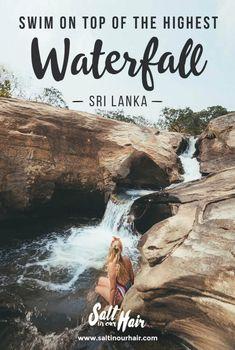 Swim on top of the 220-meter high Diyaluma Falls, Sri Lanka