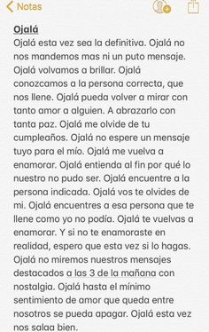 Ojala Amor Quotes, Words Quotes, Life Quotes, Love Phrases, Love Words, Cute Spanish Quotes, Ex Amor, Sad Texts, Tumblr Love