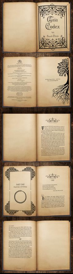 Gaia Codex by Sarah Drew | Formatting and Layout by Benjamin Carrancho - awesomebooklayout.com Sarah Drew, Book Layout, Illuminated Manuscript, Gaia, Nonfiction, Childrens Books, Good Books, Novels, Wisdom