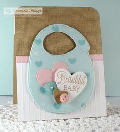 Beautiful Baby, Linen Background, Baby's Bib Die-namics, Heart STAX Die-namics, Suit and Tie Die-namics - Cindy Lawrence #mftstamps