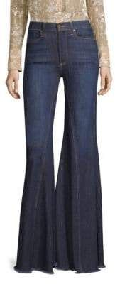 LA by alice + olivia - High-Rise Exaggerated Ruffle Hem Jeans Saum Jeans, High Rise Jeans, Alice Olivia, Front Button, Flare Jeans, Bell Bottoms, Bell Bottom Jeans, Closure, Denim