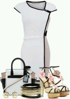 Dress and Purse I like but IDK about the shoes they don't seem right with this look.