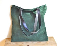 OFFER leather tote bag green leather tote bag market bag everyday bag casual bag with black leather straps
