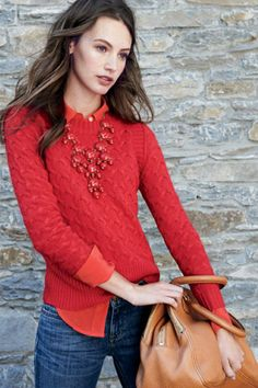 sweater,  statement necklace combo in the same color