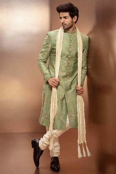 Pistachio Green Sherwani Set The Effective Pictures We Offer You About Groom Outfit braces A quality picture can tell you many things. You can find the most beautiful pictures that can be presented to Sherwani For Men Wedding, Wedding Dresses Men Indian, Sherwani Groom, Wedding Men, Wedding Outfits For Men, Mens Wedding Wear Indian, Mens Sherwani, Wedding Tuxedos, Punjabi Wedding