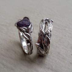 Raw Uncut Purple Sapphire Leaf & Twig by DawnVertreesJewelry