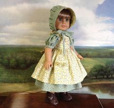 American Girl Yellow and Green Prairie Dress with Bonnet