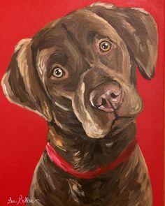 Chocolate Lab art print from original chocolate labrador canvas painting by HippieHoundUSA on Etsy #OilPaintingDog #DogFace