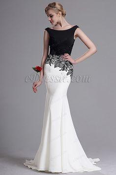 Vestido de Fiesta Corte Sirena Negro y Blanco Delicado (02163307)