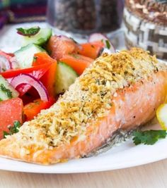 Enjoy a crispy crusted fish without the bread crumbs or flour with this delicious paleo honey mustard crusted salmon recipe. Baked Salmon Recipes, Honey Recipes, Potato Recipes, Fish Recipes, Seafood Recipes, Cooking Recipes, Gourmet Recipes, Healthy Recipes, Pistachio Crusted Salmon