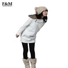 Hot Sale 2015 Womens Autumn Sweatshirts Hoodies Leopard Top Outerwear Parka Coats White/ Black Four Size 3283#11