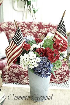 Common Ground: Vintage Inspiration Patriotic Party and a Give Away Fourth Of July Decor, 4th Of July Decorations, 4th Of July Party, July 4th, Birthday Decorations, Americana Decorations, Parties Decorations, Church Decorations, Table Decorations