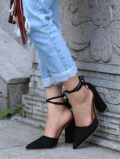 6 Colors Pointed Strappy Pumps Sexy Retro High Thick Heels Shoes 2107 New Woman Shoes Female Lace Up Shoes Platform High Heels, High Heel Pumps, Pump Shoes, Women's Pumps, Shoes Heels, Flats, Thick Heels, Black High Heels, Lace Up Heels