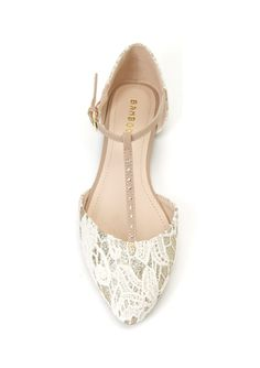 Ivory lace flat #bridal #shoe with t-strap. $25