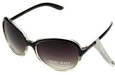 Nine West Cat Eye Sunglasses Black Gray 100% UV Protection Plastic 60-19-135