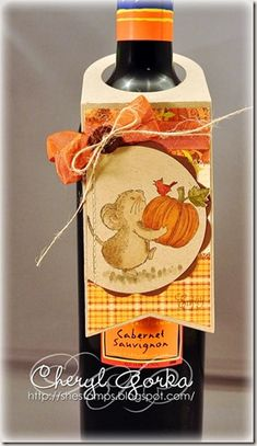 Harvest Mouse Wine Bottle Tag by elizgmom - Cards and Paper Crafts at Splitcoaststampers Old Wine Bottles, Wine Bottle Tags, Recycled Wine Bottles, Wine Bottle Covers, Wine Tags, Wine Corks, Wine Craft, Wine Cork Crafts, Wine Bottle Crafts