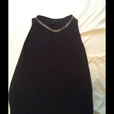 Wide shoulder tunic style tank Black tunic style tank with jeweled neckline. Never worn. Mossimo Supply Co Tops Blouses