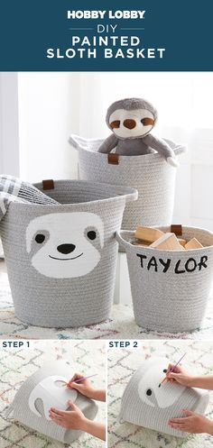 Transform a plain basket into a playful accent with two easy steps! Trace our downloadable template onto the basket, then fill in with paint to recreate this look. Find the template on our DIY Projects & Videos Page. Diy Projects Videos, Crafty Projects, Painted Baskets, Basket Crafts, Crafts For Kids, Diy Crafts, French Country Decorating, Hobby Lobby, Boy Room