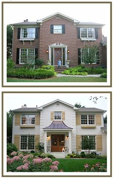 Holy paint job! McMansion to a gorgeous chateau-inspired house.