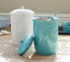 stylish way to hide the dog food.... good alternative to using the plastic bins!