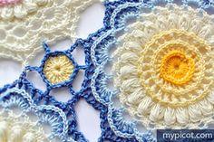 Textured Crochet Motif - Free Crochet Pattern - (mypicot)
