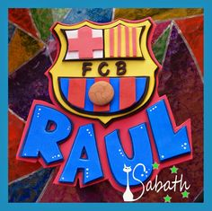 Raul Cartel para puerta en goma eva Barcelona Party, Fcb Barcelona, Foam Crafts, Diy And Crafts, Baby Door Hangers, Ideas Para Fiestas, Cupcake Toppers, Smurfs, Mickey Mouse