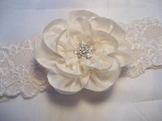Bridal Garter Ivory Silk Peony on Ivory lace by AllAHeartDesires, $36.00
