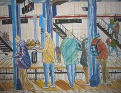 This is a 4' X4' subway watercolor by Enrico Miguel Thomas of Manhattan's 59th Street subway platform.