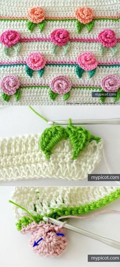 Are you on the hunt for a Crochet Rose Pattern? We have lots of gorgeous ideas including blankets and cushions and lots of free patterns and video tutorial. Crochet Roses, Crochet Flower Patterns, Crochet Motifs, Crochet Borders, Fleur Crochet, Crochet Stitches Patterns, Crochet Designs, Love Crochet, Crochet Lace