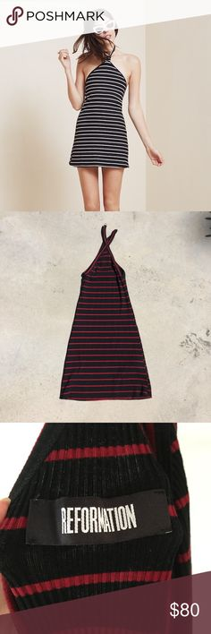 "NWOT Reformation red & black stripe bodycon dress ‼️ FAILURE TO READ ABOVE POLICIES RESULTS IN BEING BLOCKED FROM THE SHOP‼️ Size XS and can fit up to a small. Not sure what the name is - model pic is of the Fluke dress. Red and black stripes, very stretchy material, and a bodycon fit. Only flaw is a faint white mark on the neck, but it can possibly be washed out. Perfect for a simple night out or a casual event 🍷  •straps: 5"" •pit to pit: 10"" (can stretch up to 13"") •waist: 12"" (can…"