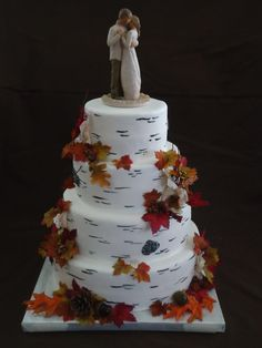 4 Tier Fondant Birch Bark Cake  https://www.facebook.com/pages/Piece-of-Cake-by-Carri-McPherson/165198836863121