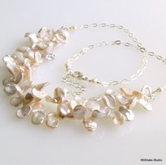Keishi Pearl Bib Necklace White Keishi Petals by WillOaksStudio, $120.00