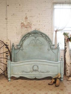Painted Cottage Chic Shabby Aqua Rose Queen by paintedcottages, $1295.00
