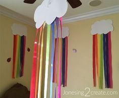 Love The Idea Of Making Rainbow Clouds Out White Paper And Streamers So Cheap Easy For A Birthday Party