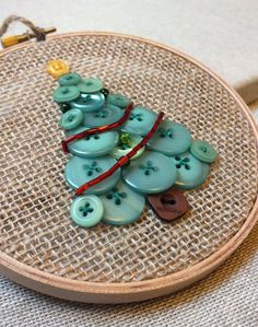 Button Tree Christmas Hanging Decoration Green Button Tree Beads Embroidery Hoop