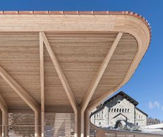 norman foster renovates the kulm eispavillon in st moritz Timber Architecture, Canopy Architecture, Contemporary Architecture, Architecture Details, Contemporary Building, Classical Architecture, Backyard Canopy, Garden Canopy, Canopy Outdoor