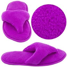 $12.99 Purple Terry Thong Slippers for Women L 8-9 - These comfy slippers are a thong style. They are plush, non-skid soles. http://www.amazon.com/dp/B004UND9CE/?tag=icypnt-20