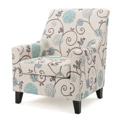 Guyon Club Chair - White/Blue - Christopher Knight Home,