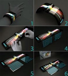 Sony's Futuristic Concept of Computers by Hiromi Kiriki.  Developed to be worn as a bracelet, this computer concept is constructed out of a flexible organic light emitting diode (OLED) touchscreen. It features like a holographic projector (for screen), pull-out extra keyboard panels and social networking compatibility, make the concept plausible.