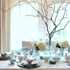 Table decor - curly willow for height and interest! You could do this if you came and got some curly willow branches!