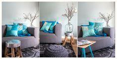 Kleur je woonkamer, met grijs als basis en blauw als accent. Combineer ...