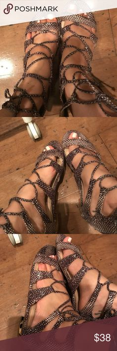 Top Shop Gladiators size 7 Topshop gladiator sandals size 7. Snack skin print in good condition with gold heel. Signs of wear. Please feel free to ask any questions. No trades please. Topshop Shoes Sandals