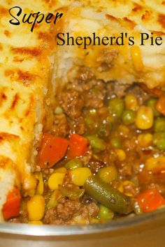 Super Shepherd's Pie is one of my family's most requested recipes. This ultimate comfort food recipe has a rich tasty gravy, ground beef, veggies topped with fluffy mashed potatoes.