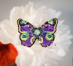 Купить Nu Wa - комбинированный, нью ва, бабочка, мотылек, эксклюзивная вышивка, брошь-бабочка